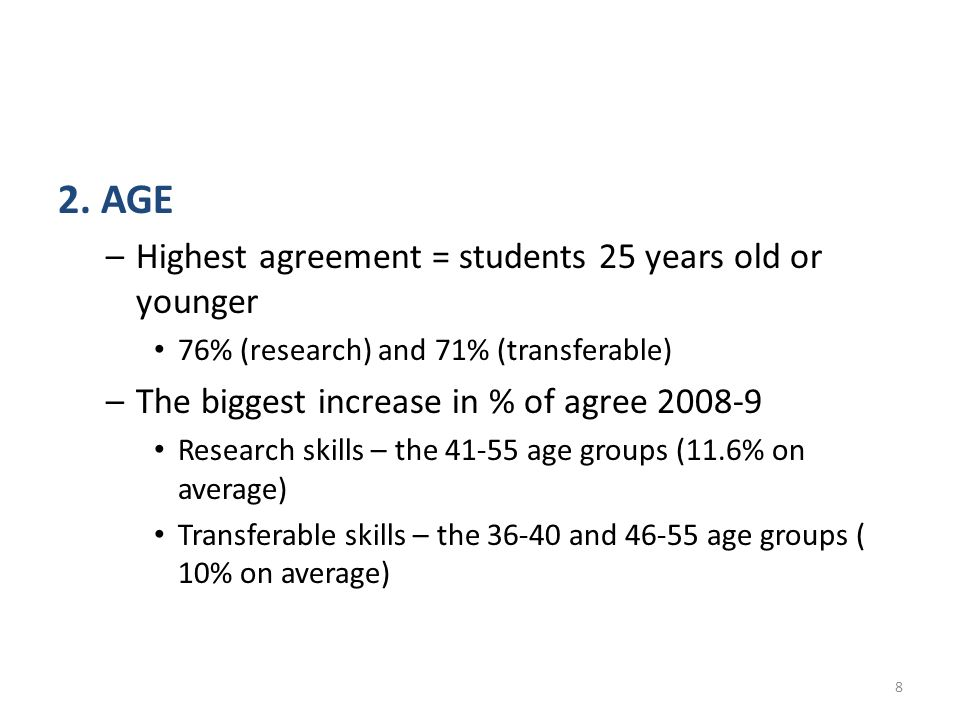 2. AGE –Highest agreement = students 25 years old or younger 76% (research) and 71% (transferable) –The biggest increase in % of agree 2008-9 Research