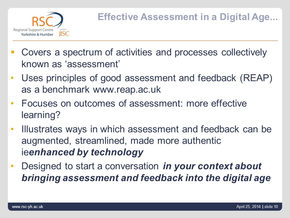 Effective Assessment in a Digital Age...