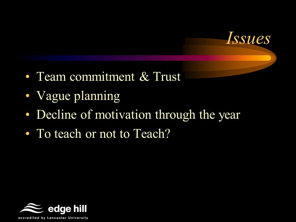 Issues Team commitment & Trust Vague planning Decline of motivation through the year To teach or not to Teach