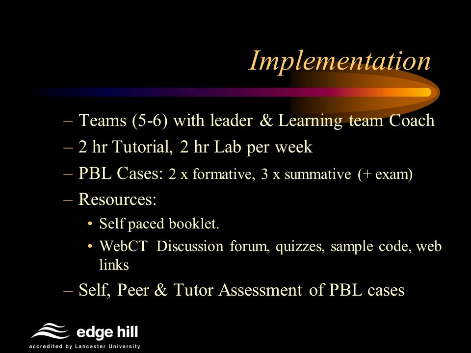 Implementation –Teams (5-6) with leader & Learning team Coach –2 hr Tutorial, 2 hr Lab per week –PBL Cases: 2 x formative, 3 x summative (+ exam) –Resources: Self paced booklet.