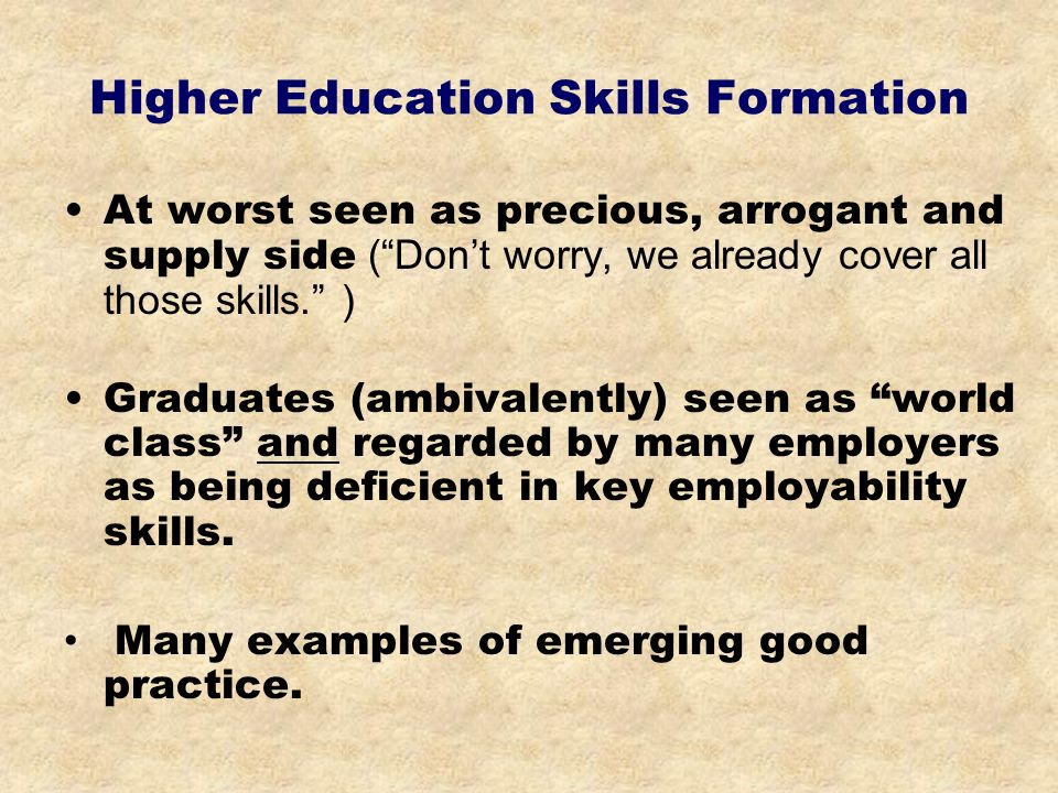 Higher Education Skills Formation At worst seen as precious, arrogant and supply side (Dont worry, we already cover all those skills.