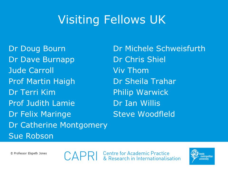 © Professor Elspeth Jones Visiting Fellows UK Dr Doug Bourn Dr Dave Burnapp Jude Carroll Prof Martin Haigh Dr Terri Kim Prof Judith Lamie Dr Felix Mar