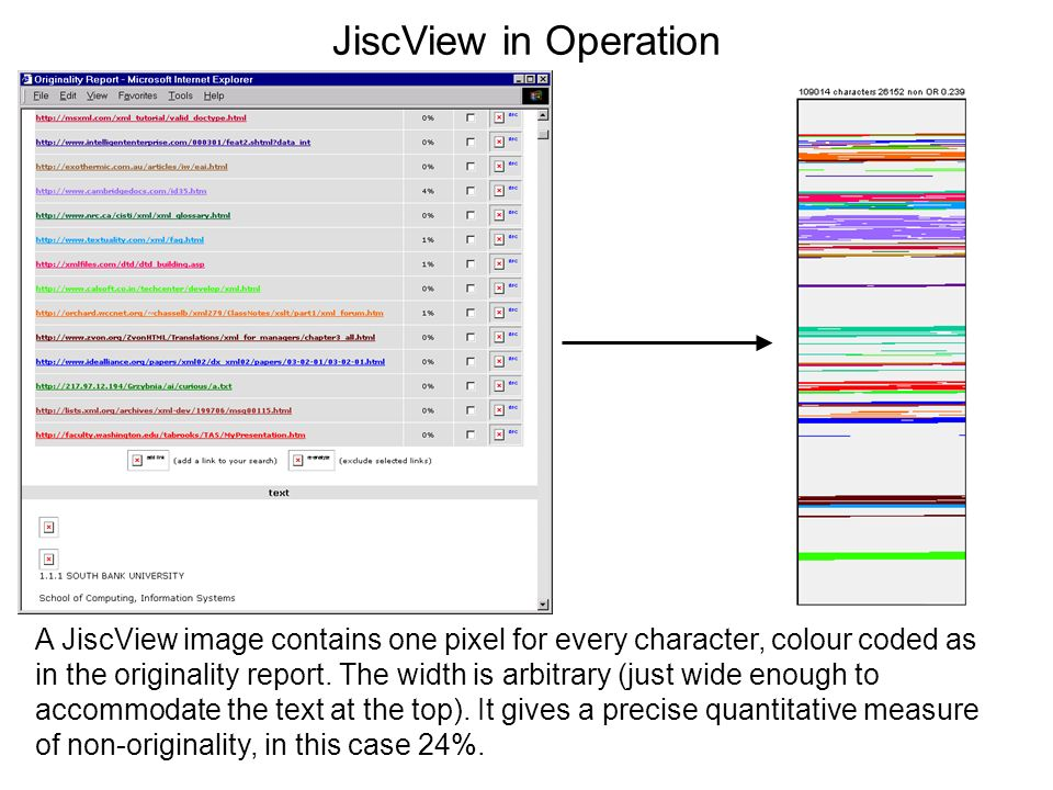 JiscView in Operation A JiscView image contains one pixel for every character, colour coded as in the originality report. The width is arbitrary (just
