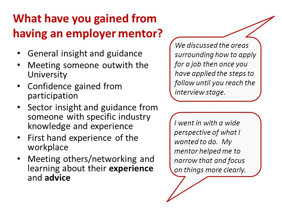 What have you gained from having an employer mentor.