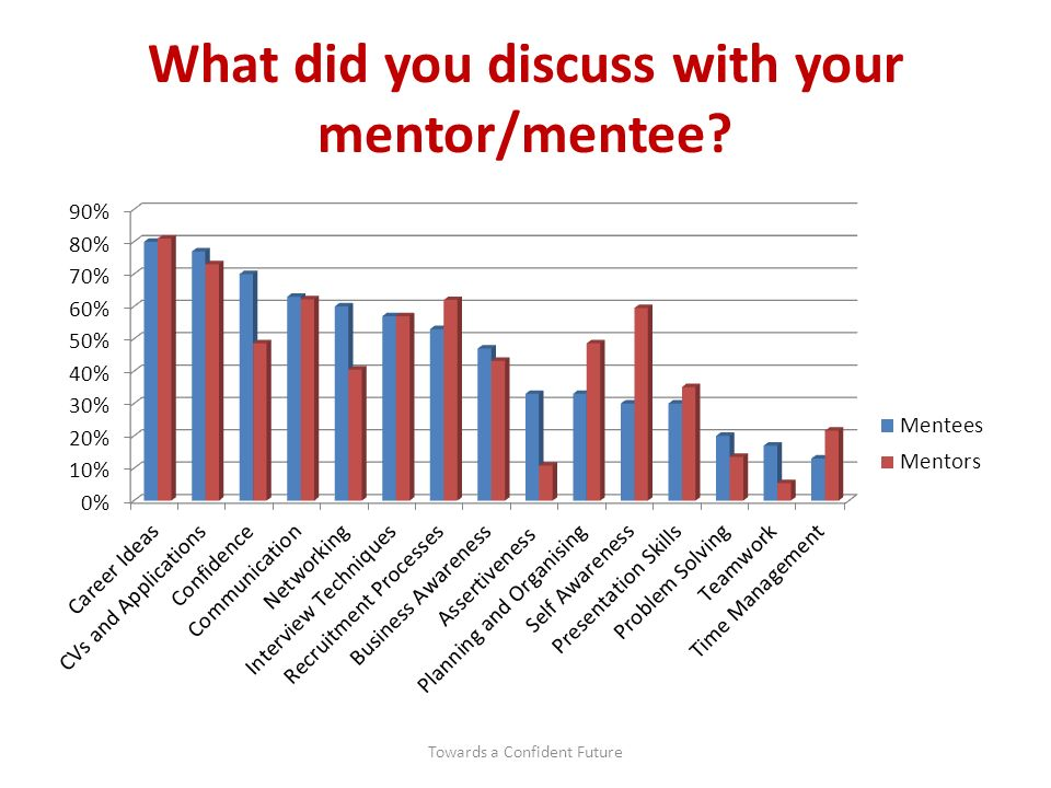 What did you discuss with your mentor/mentee Towards a Confident Future