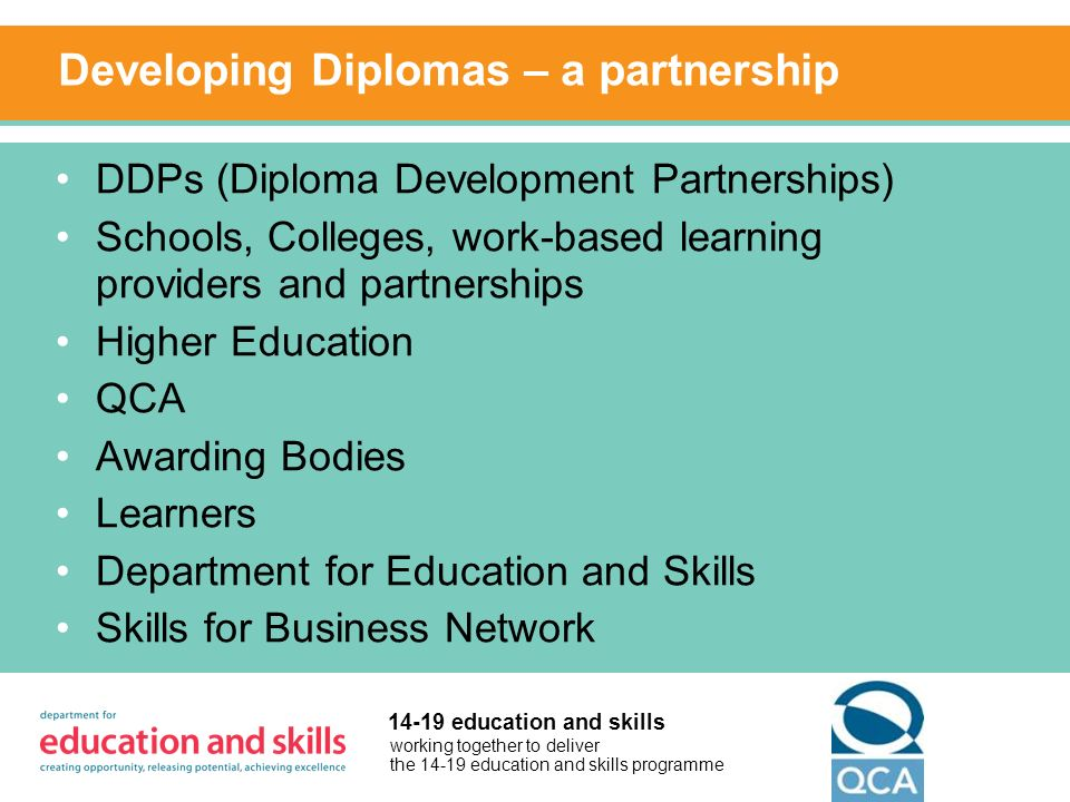 working together to deliver the 14-19 education and skills programme 14-19 education and skills Developing Diplomas – a partnership DDPs (Diploma Development Partnerships) Schools, Colleges, work-based learning providers and partnerships Higher Education QCA Awarding Bodies Learners Department for Education and Skills Skills for Business Network