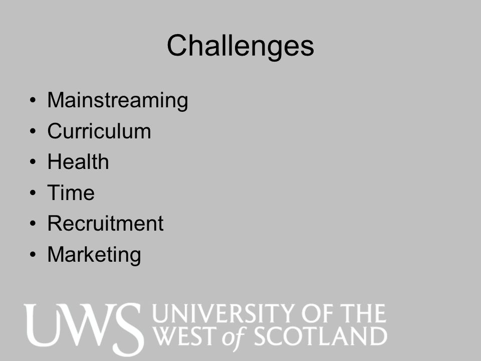 Challenges Mainstreaming Curriculum Health Time Recruitment Marketing