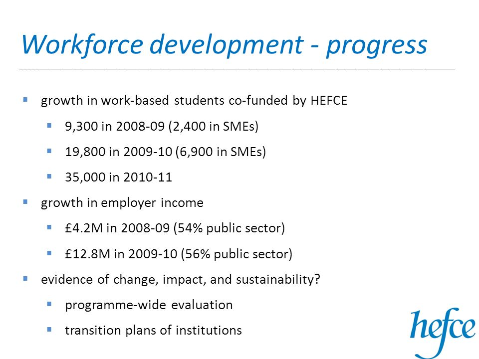 growth in work-based students co-funded by HEFCE 9,300 in (2,400 in SMEs) 19,800 in (6,900 in SMEs) 35,000 in growth in employer income £4.2M in (54% public sector) £12.8M in (56% public sector) evidence of change, impact, and sustainability.