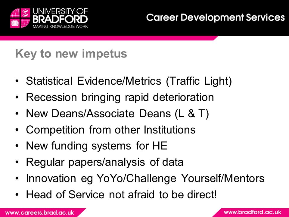 Key to new impetus Statistical Evidence/Metrics (Traffic Light) Recession bringing rapid deterioration New Deans/Associate Deans (L & T) Competition from other Institutions New funding systems for HE Regular papers/analysis of data Innovation eg YoYo/Challenge Yourself/Mentors Head of Service not afraid to be direct!