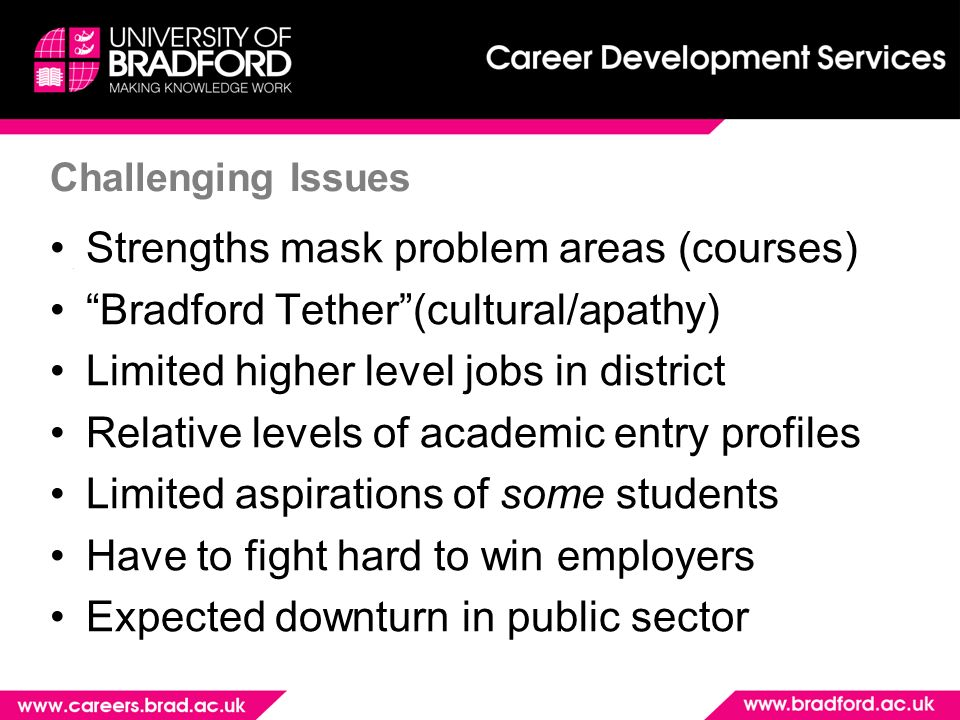 Challenging Issues Strengths mask problem areas (courses) Bradford Tether(cultural/apathy) Limited higher level jobs in district Relative levels of academic entry profiles Limited aspirations of some students Have to fight hard to win employers Expected downturn in public sector