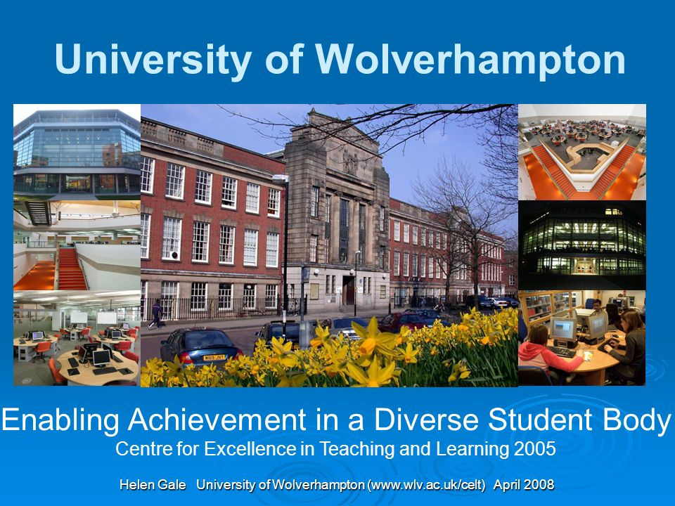 Helen Gale University of Wolverhampton (www.wlv.ac.uk/celt) April 2008 Enabling Achievement in a Diverse Student Body Centre for Excellence in Teaching and Learning 2005 University of Wolverhampton