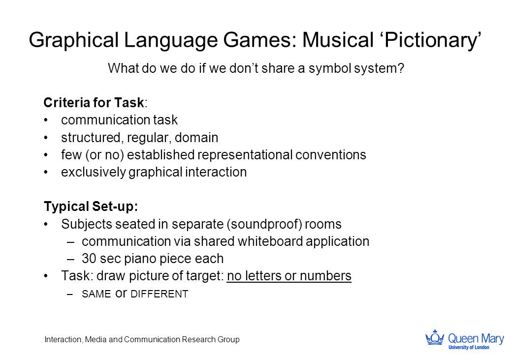 Interaction, Media and Communication Research Group Graphical Language Games: Musical Pictionary What do we do if we dont share a symbol system? Crite