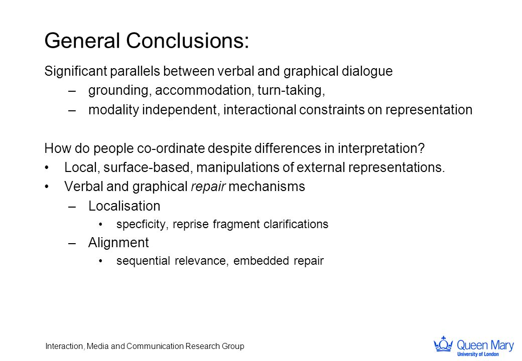 Interaction, Media and Communication Research Group General Conclusions: Significant parallels between verbal and graphical dialogue –grounding, accom