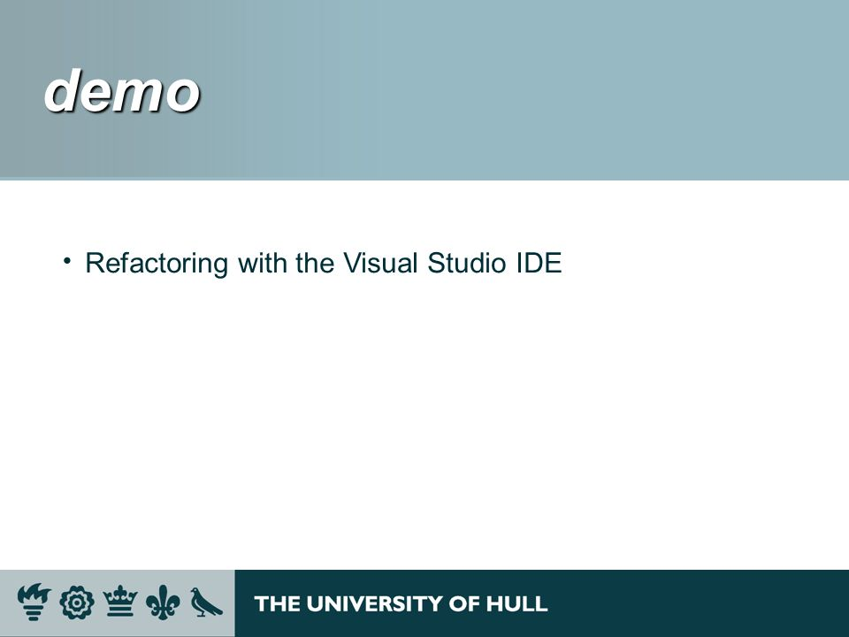 demo demo Refactoring with the Visual Studio IDE