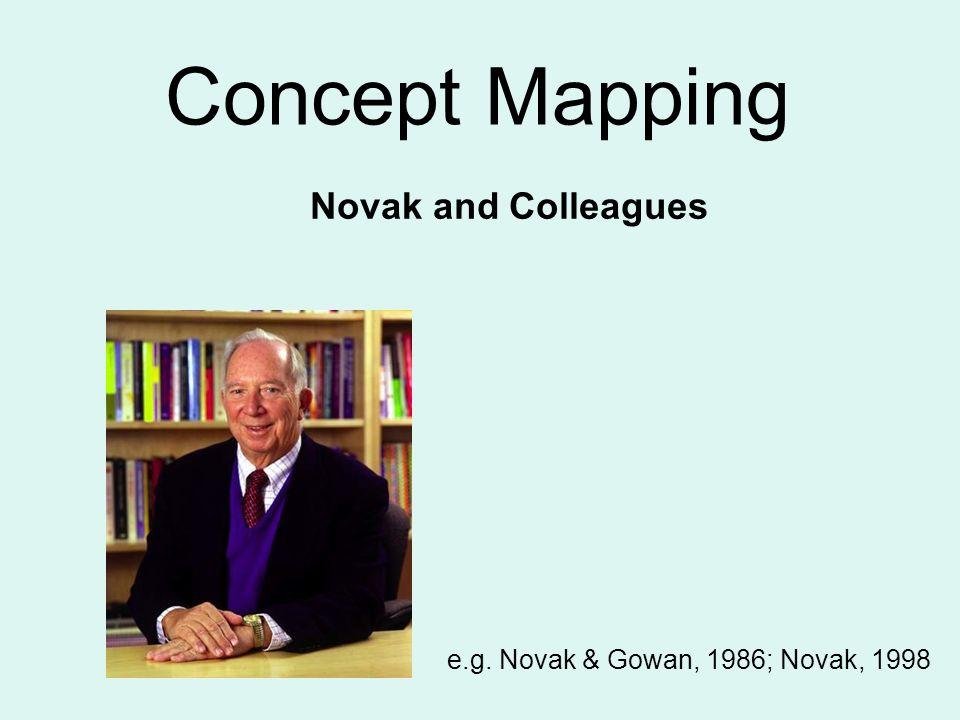 Concept Mapping Novak and Colleagues e.g. Novak & Gowan, 1986; Novak, 1998