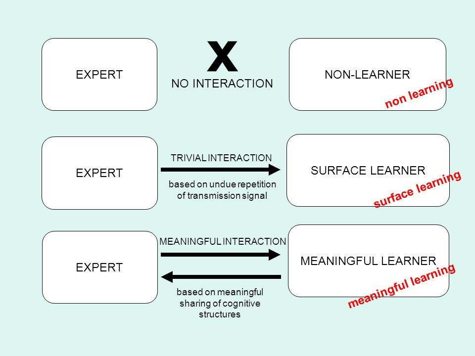 EXPERTNON-LEARNER SURFACE LEARNER MEANINGFUL LEARNER EXPERT x NO INTERACTION TRIVIAL INTERACTION based on undue repetition of transmission signal MEAN