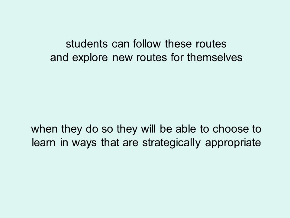 when they do so they will be able to choose to learn in ways that are strategically appropriate students can follow these routes and explore new route