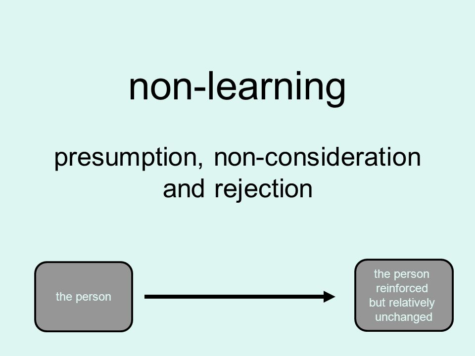 non-learning presumption, non-consideration and rejection the person reinforced but relatively unchanged