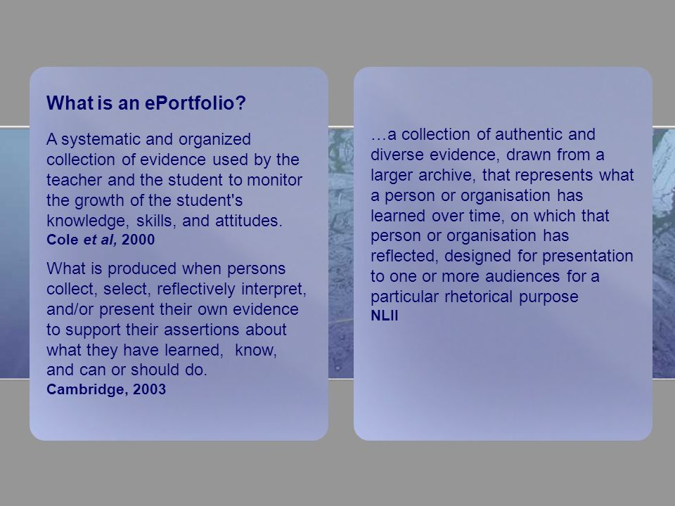 What is an ePortfolio.