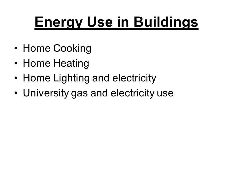 Energy Use in Buildings Home Cooking Home Heating Home Lighting and electricity University gas and electricity use