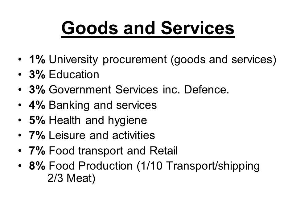 Goods and Services 1% University procurement (goods and services) 3% Education 3% Government Services inc.