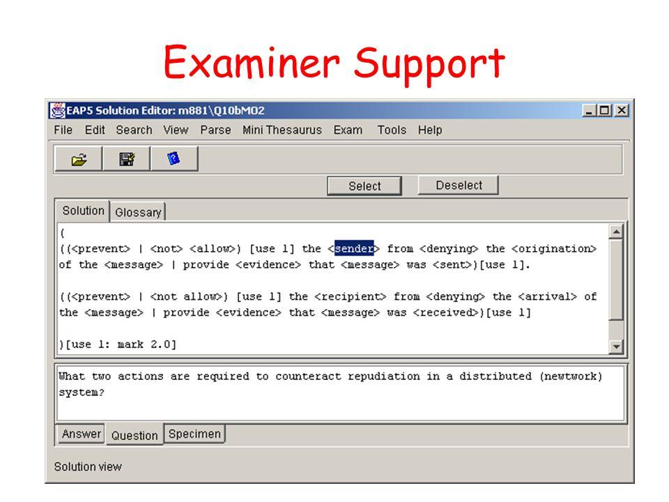 Examiner Support