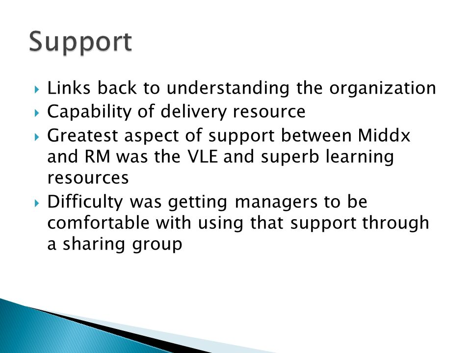 Links back to understanding the organization Capability of delivery resource Greatest aspect of support between Middx and RM was the VLE and superb learning resources Difficulty was getting managers to be comfortable with using that support through a sharing group