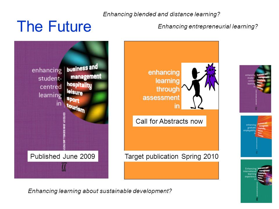 The Future Published June 2009 enhancing learning through assessment in Target publication Spring 2010 Call for Abstracts now Enhancing entrepreneurial learning.