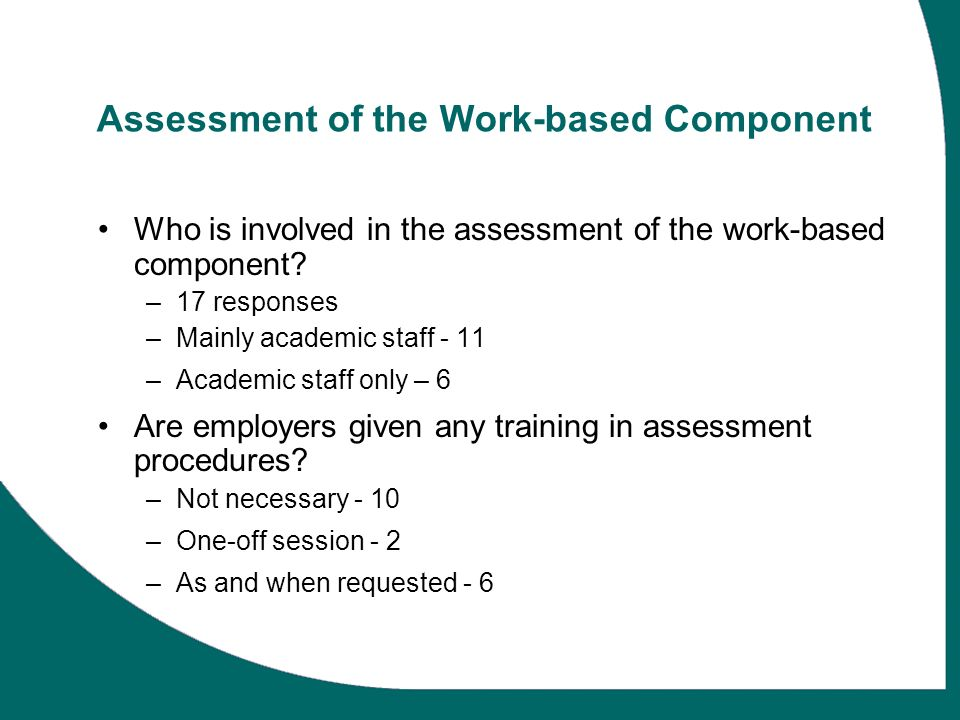 Assessment of the Work-based Component Who is involved in the assessment of the work-based component? –17 responses –Mainly academic staff - 11 –Acade