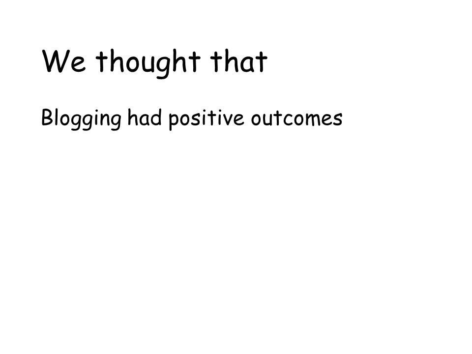 We thought that Blogging had positive outcomes