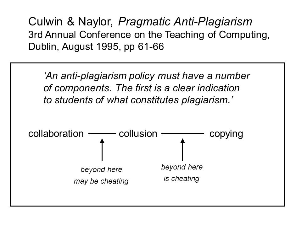 Culwin & Naylor, Pragmatic Anti-Plagiarism 3rd Annual Conference on the Teaching of Computing, Dublin, August 1995, pp 61-66 An anti-plagiarism policy must have a number of components.