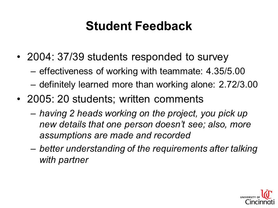 Student Feedback 2004: 37/39 students responded to survey –effectiveness of working with teammate: 4.35/5.00 –definitely learned more than working alone: 2.72/3.00 2005: 20 students; written comments –having 2 heads working on the project, you pick up new details that one person doesnt see; also, more assumptions are made and recorded –better understanding of the requirements after talking with partner
