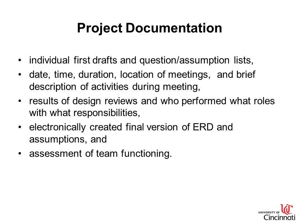 Project Documentation individual first drafts and question/assumption lists, date, time, duration, location of meetings, and brief description of acti