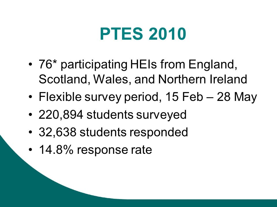 PTES 2010 76* participating HEIs from England, Scotland, Wales, and Northern Ireland Flexible survey period, 15 Feb – 28 May 220,894 students surveyed 32,638 students responded 14.8% response rate