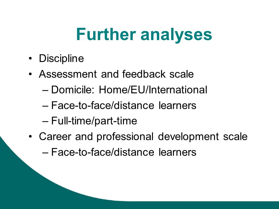 Further analyses Discipline Assessment and feedback scale –Domicile: Home/EU/International –Face-to-face/distance learners –Full-time/part-time Career and professional development scale –Face-to-face/distance learners