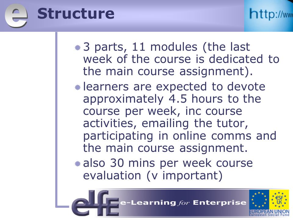Structure 3 parts, 11 modules (the last week of the course is dedicated to the main course assignment).
