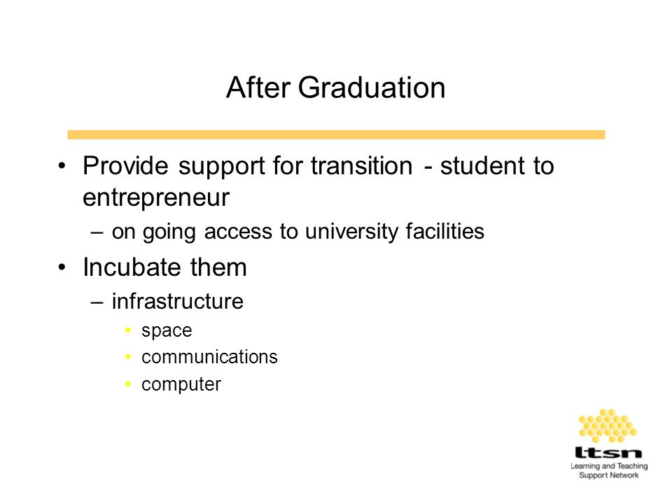 After Graduation Provide support for transition - student to entrepreneur –on going access to university facilities Incubate them –infrastructure space communications computer