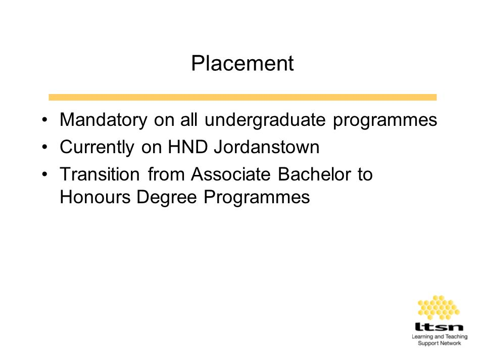 Placement Process Valued by students and employers 2001/02 –300 Students with 124 Companies Paid employment Pre-requisite for final year Recent Problems –Downturn in IT sector –difficulties finding placement –minimum length of placement
