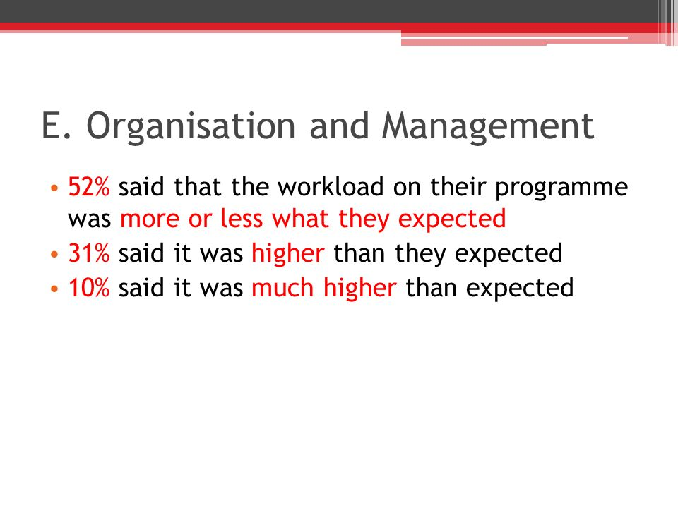 E. Organisation and Management 52% said that the workload on their programme was more or less what they expected 31% said it was higher than they expe