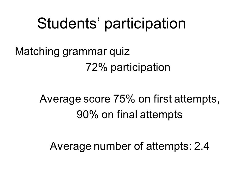 Students participation Matching grammar quiz 72% participation Average score 75% on first attempts, 90% on final attempts Average number of attempts: 2.4
