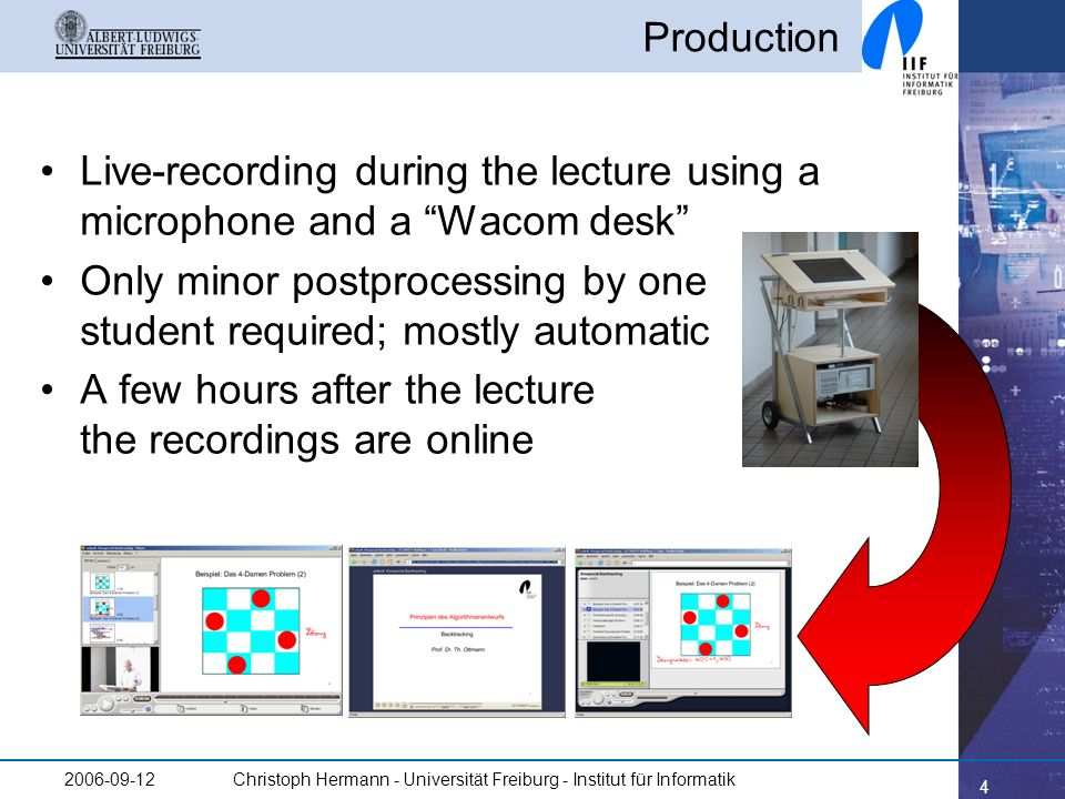 4 2006-09-12Christoph Hermann - Universität Freiburg - Institut für Informatik Production Live-recording during the lecture using a microphone and a W