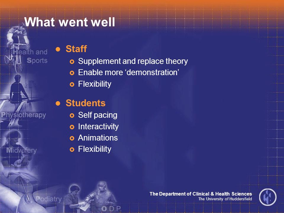 The Department of Clinical & Health Sciences The University of Huddersfield What went well Staff Supplement and replace theory Enable more demonstration Flexibility Students Self pacing Interactivity Animations Flexibility