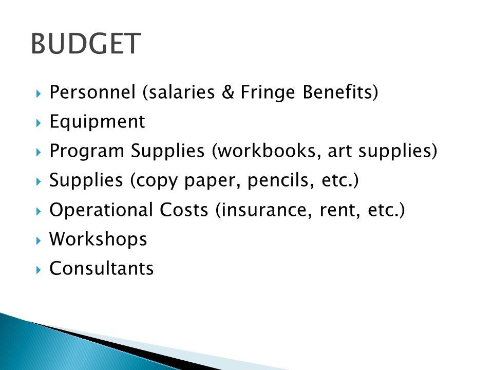 Personnel (salaries & Fringe Benefits) Equipment Program Supplies (workbooks, art supplies) Supplies (copy paper, pencils, etc.) Operational Costs (insurance, rent, etc.) Workshops Consultants