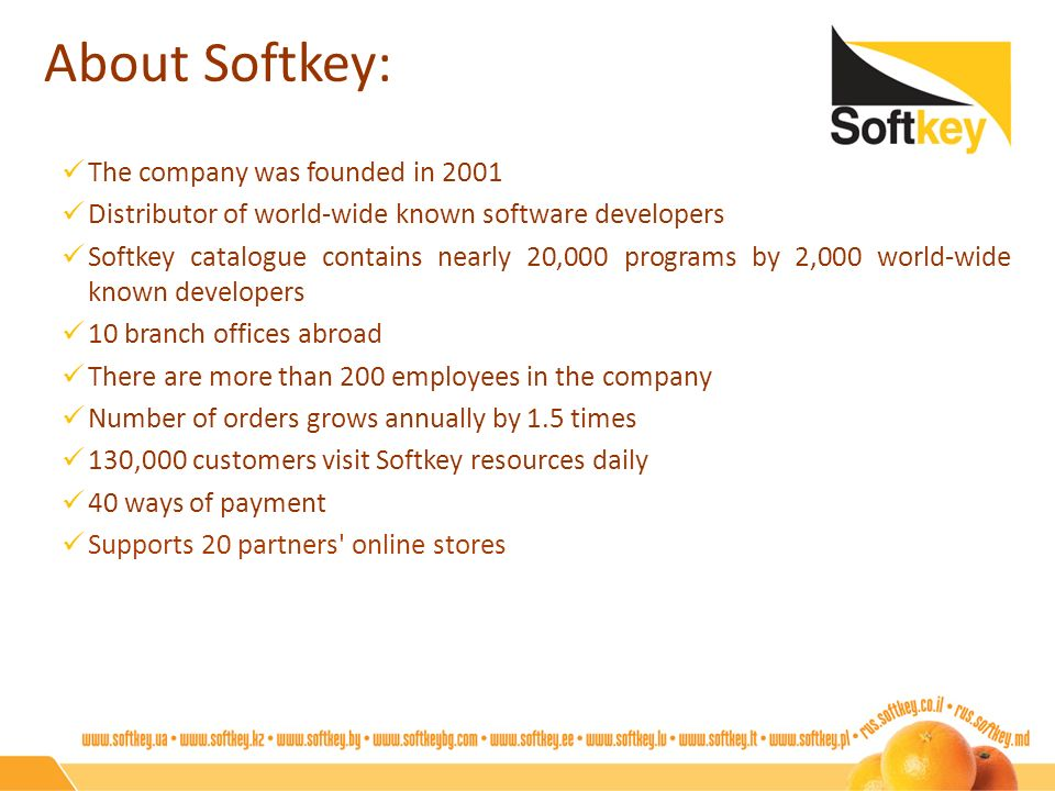 About Softkey: The company was founded in 2001 Distributor of world-wide known software developers Softkey catalogue contains nearly 20,000 programs b