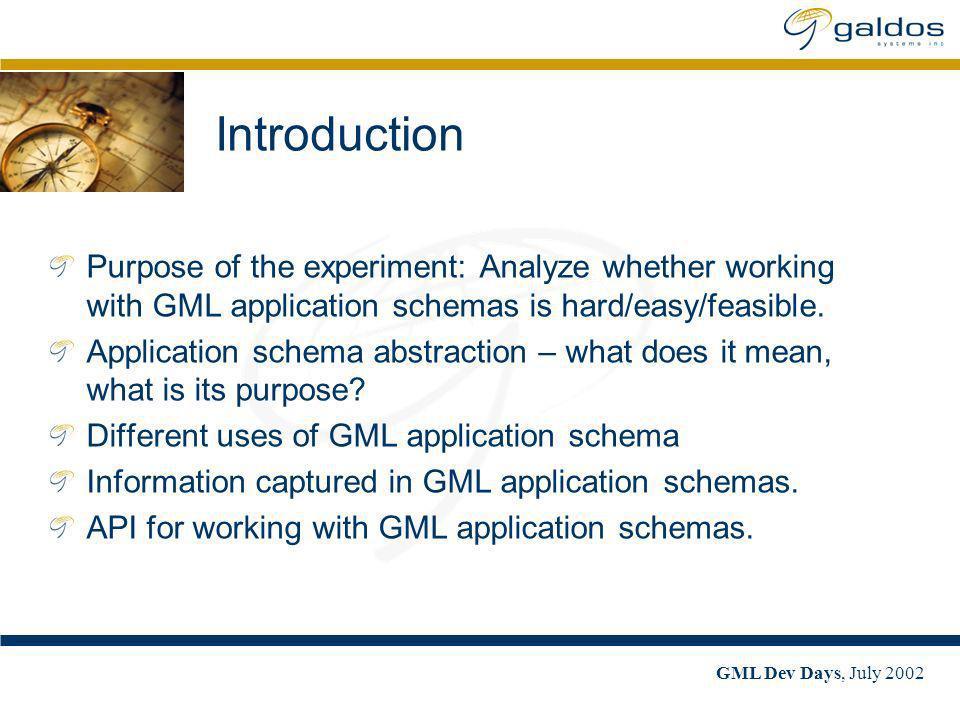 GML Dev Days, July 2002 Working with GML Application Schemas Milan Trnini}, Galdos Systems, Inc. mtrninic@galdosinc.com