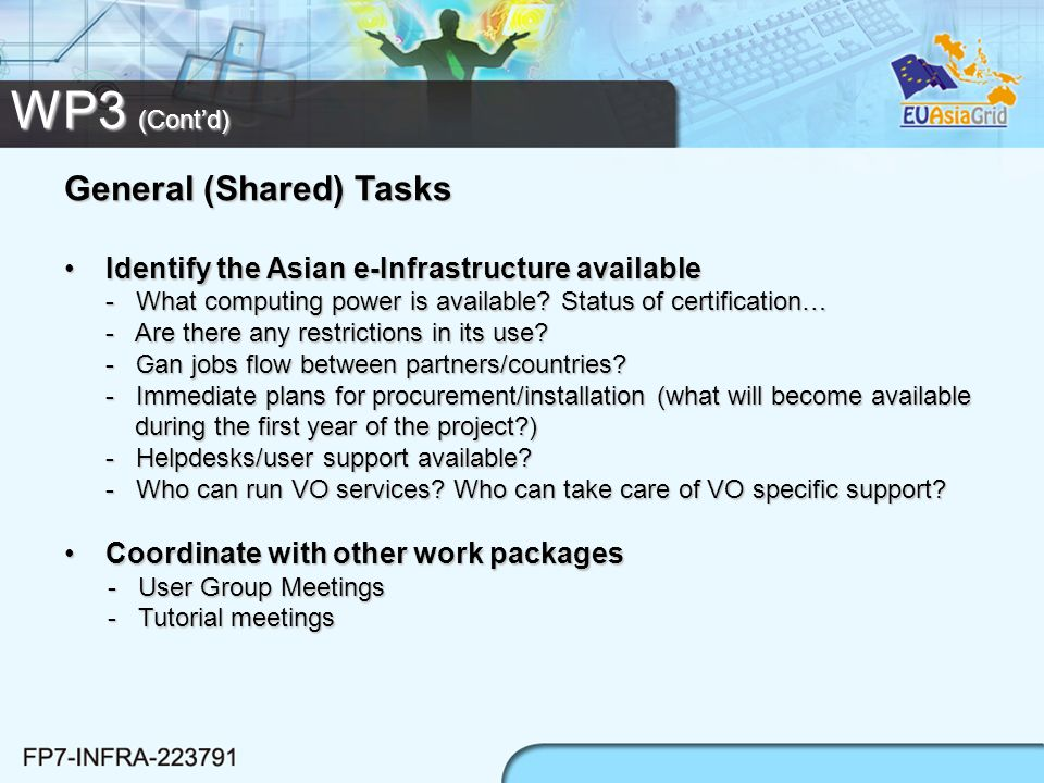 WP3 (Contd) General (Shared) Tasks Identify the Asian e-Infrastructure available - What computing power is available.