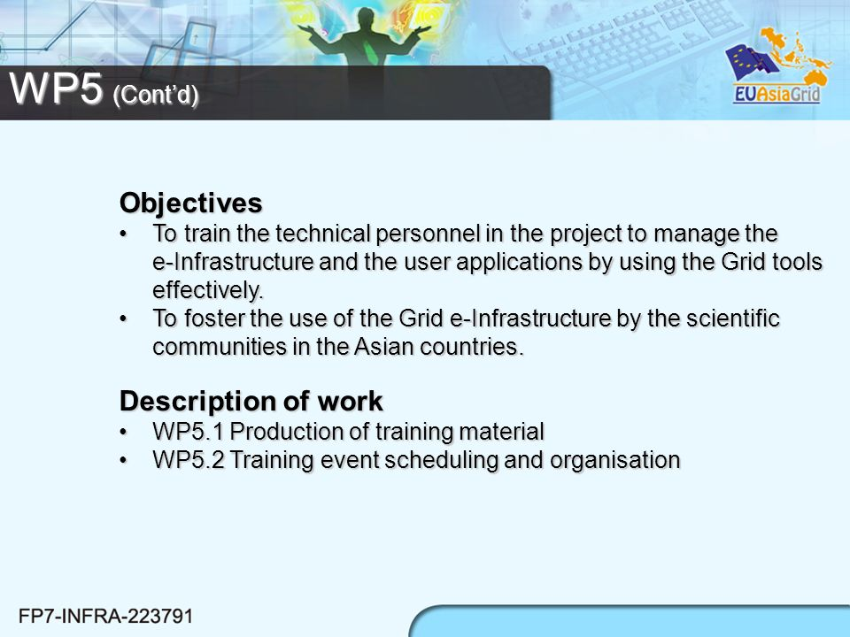 WP5 (Contd) Objectives To train the technical personnel in the project to manage the e-Infrastructure and the user applications by using the Grid tool
