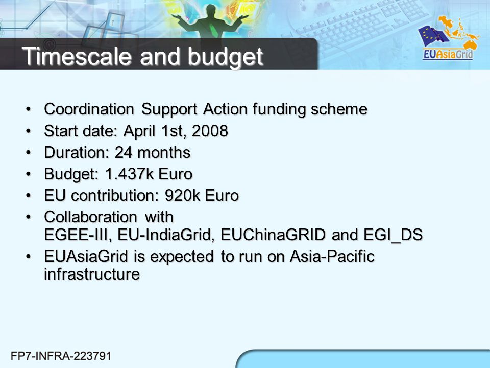 Timescale and budget Coordination Support Action funding schemeCoordination Support Action funding scheme Start date: April 1st, 2008Start date: April 1st, 2008 Duration: 24 monthsDuration: 24 months Budget: 1.437k EuroBudget: 1.437k Euro EU contribution: 920k EuroEU contribution: 920k Euro Collaboration with EGEE-III, EU-IndiaGrid, EUChinaGRID and EGI_DSCollaboration with EGEE-III, EU-IndiaGrid, EUChinaGRID and EGI_DS EUAsiaGrid is expected to run on Asia-Pacific infrastructureEUAsiaGrid is expected to run on Asia-Pacific infrastructure