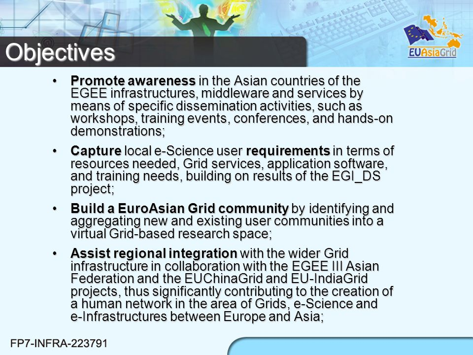 Conclusion The project has just started, but it has already a rich background (EGEE expertise, ASGC as ROC, scientific communities)The project has just started, but it has already a rich background (EGEE expertise, ASGC as ROC, scientific communities) Collaboration with other regional project (EU-IndiaGrid, EUChinaGRID) is a great added value:Collaboration with other regional project (EU-IndiaGrid, EUChinaGRID) is a great added value: –Networking –Operations –Scientific applications –User support