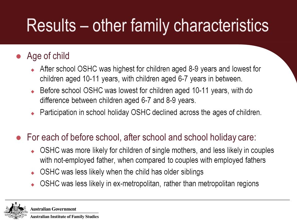 Results – other family characteristics Age of child After school OSHC was highest for children aged 8-9 years and lowest for children aged 10-11 years, with children aged 6-7 years in between.